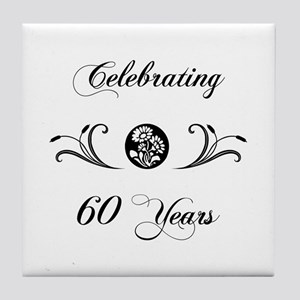 60th Anniversary (b&w) Tile Coaster